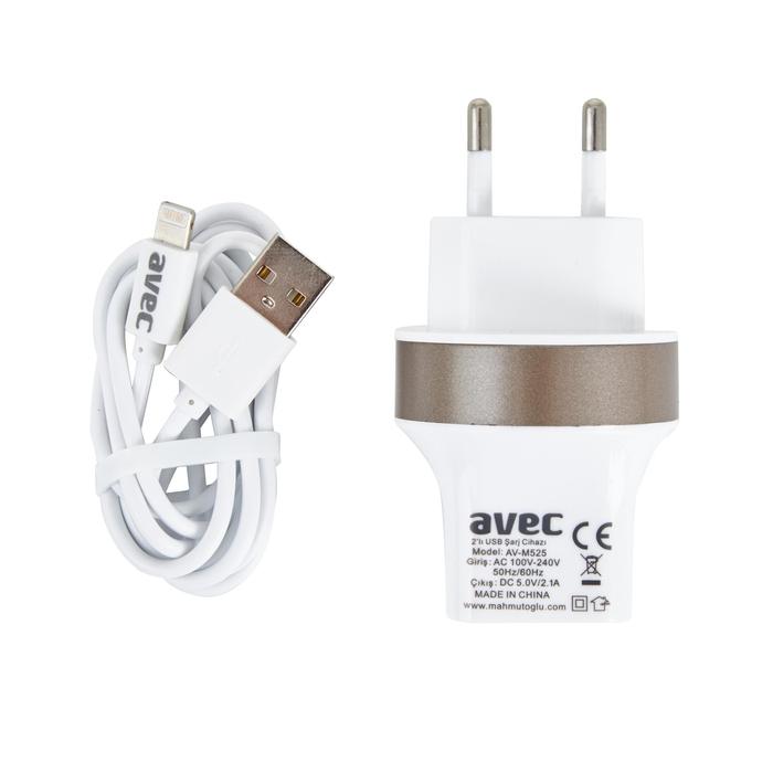 Avec Av M525 2.1A Usb Şarj Cihazı + Av W106A IP5/IP6 Kablo Seti
