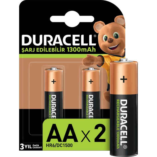 Duracell - DURACELL 1300 MAH ŞARJLI KALEM PİL 2Lİ