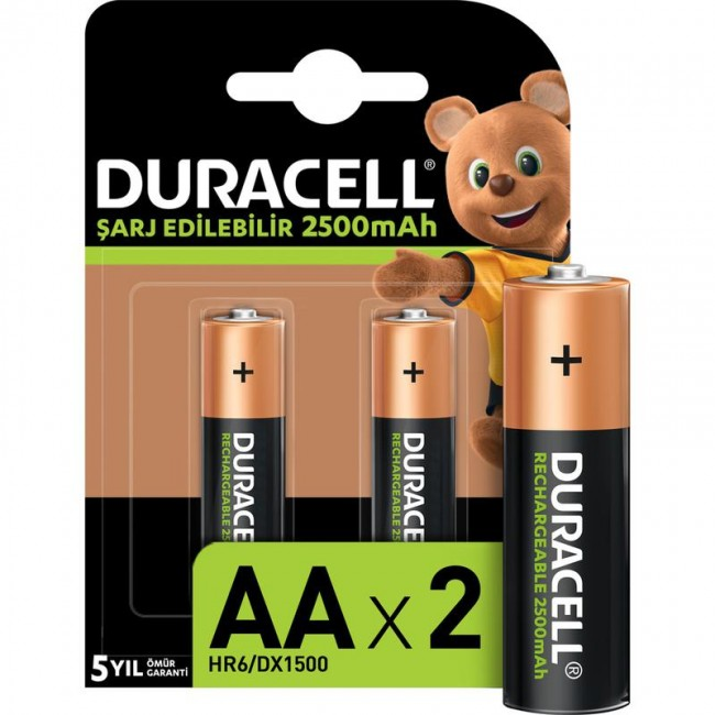 Duracell - DURACELL 2500 MAH 2Lİ ŞARJLI KALEM PİL