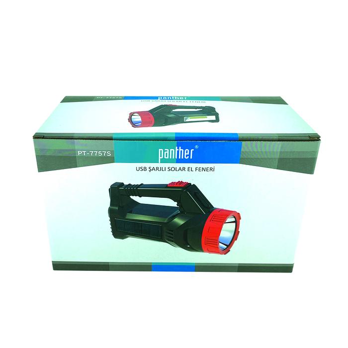 PANTHER PT-7757S USB ŞARJLI SOLAR EL FENERİ